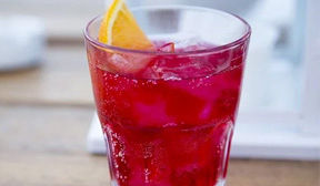 Glass of red juice with ice and lemon slice.